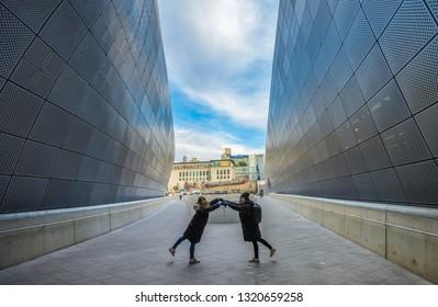Seoul, South Korea - December 30, 2018: Modern architecture of the beautiful Dongdaemun Design Plaza (DDP) in Seoul, South Korea