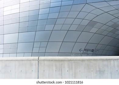 SEOUL, SOUTH KOREA - DECEMBER 31, 2017 : The futuristic wall of Dongdaemun Design Plaza (DDP) in Seoul, South Korea on December 31,2017. Dongdaemun Design Plaza is designed by Zaha Hadid and Samoo.
