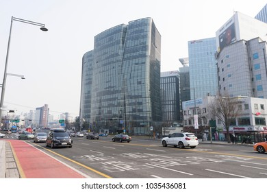 Seoul, South Korea - December 31, 2017 : Street view of modern building in front of Gwanghwamun Square in Seoul, South Korea on December 31, 2017.