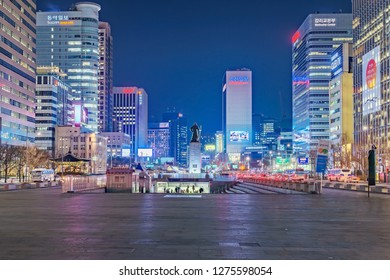 SEOUL, SOUTH KOREA - DECEMBER 31, 2018: Gwanghwamun Plaza with the statue of the Admiral Yi Sun-sin and modern buildings in downtown Seoul, South Korea