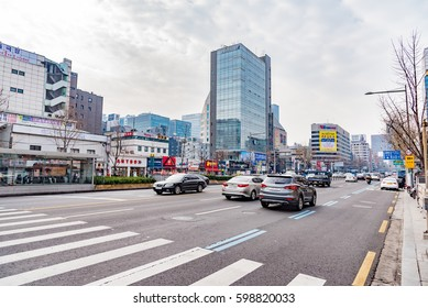 SEOUL, SOUTH KOREA -  DECEMBER 31, 2016 -   streets with banners and skyscrapers in the Asian metropolis