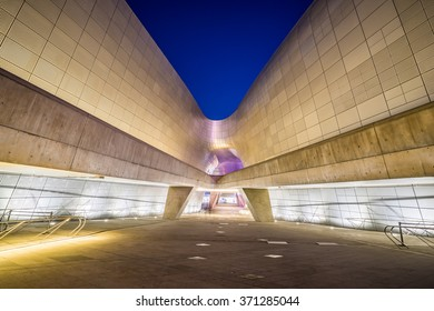 Seoul, South Korea- December 7, 2015: The Dongdaemun Design Plaza also called the DDP is a major urban development landmark in Seoul South Korea designed by Zaha Hadid and Samoo.