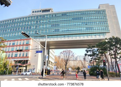 SEOUL, SOUTH KOREA - December 7, 2017: People around area of Hongdae (Hongik University), in Seoul, South Korea.