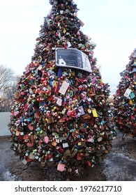 Seoul, South of Korea - February 14, 2014 : Colorful love locks With Keys,N Seoul Tower, Mountain, Landmark Architecture on Mountain, Namsan, South Korea.
