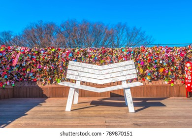 Seoul, South Korea - February 27, 2017: A white chair in a tourist spot called Seoul Tower is located at Namsan Mountain in central Seoul.