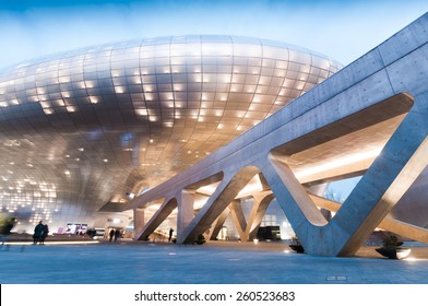SEOUL, SOUTH KOREA - FEBRUARY 28, 2015 : Modern architecture of Dongdaemun Design Plaza at night, The building designed by Zaha Hadid and Samoo.