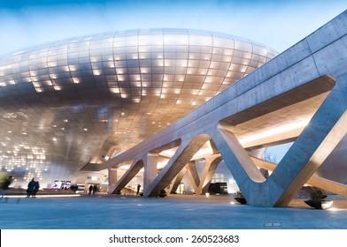 SEOUL, SOUTH KOREA - FEBRUARY 28, 2015 : Modern architecture of Dongdaemun Design Plaza at night, The building designed by Zaha Hadid and Samoo.