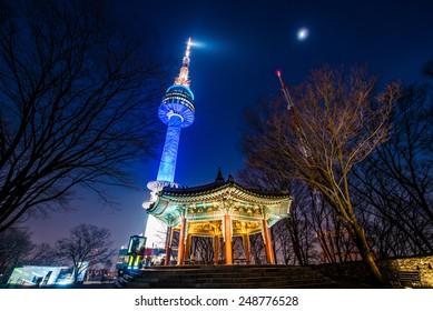 SEOUL, SOUTH KOREA - Jan 26: Night view of N Seoul Tower on January 26,2015 in Seoul, Korea.