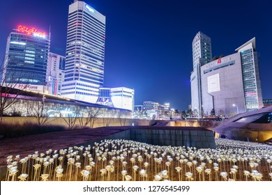 SEOUL, SOUTH KOREA - JANUARY 01, 2019: LED flower garden at the rooftop of the Dongdaemun Design Plaza (DDP) in Seoul, South Korea
