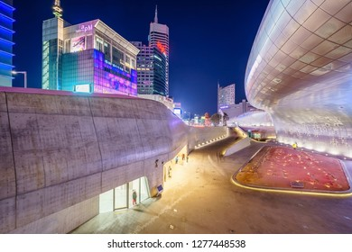 SEOUL, SOUTH KOREA - JANUARY 01, 2019: Dongdaemun Design Plaza (DDP) or Dongdaemun history & culture park at night, Here are It holds various exhibitions, fashion shows, forums, conferences