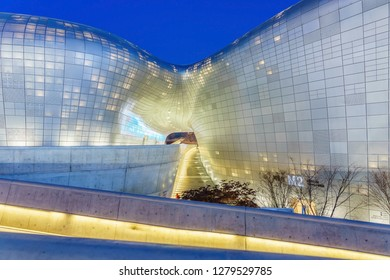 SEOUL, SOUTH KOREA - JANUARY 01, 2019: Front view of Dongdaemun Design Plaza (DDP). The newest and most iconic landmark of the Korean design industry with modern interior curve shape architectural.