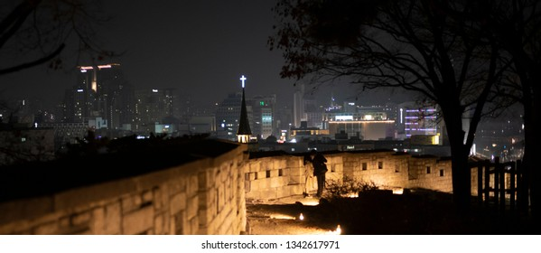 Seoul, South Korea - January 13 2019: The old city wall on Naksan Park in Seoul.