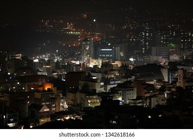Seoul, South Korea - January 13 2019: The night view of skyline of downtown Seoul.