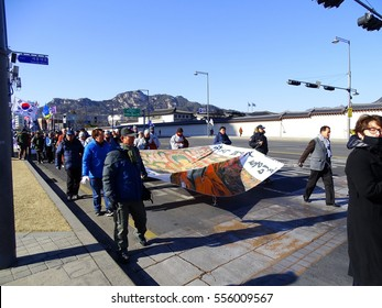 Seoul, South Korea - January 14, 2017: Funeral of buddhist monk Jeonwon who immolated himself by fire to call for the impeachment and punishment of president Park Geun-hye at January 7, 2017
