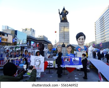 Seoul, South Korea - January 14, 2017: People at Gwanghwamun Square calling for punishment of president Park Geun-hye and Samsung chief Lee Jae-yong who has been questioned in corruption probe.