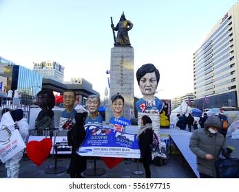 SEOUL, South Korea, January 14, 2017, Thousands of people urge the President Park Geun-hye removal at Gwanghwamun square.