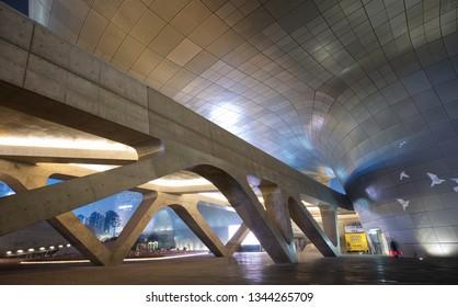 Seoul, South Korea - January 15 2019: The night view of modern Dongdaemun Design Plaza.