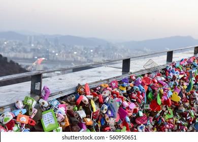 SEOUL, SOUTH KOREA - JANUARY 21 2017 : N Seoul Tower Located on Namsan Mountain in central Seoul