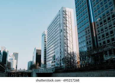 SEOUL, SOUTH KOREA - JANUARY 27th 2017: Urban park surrounding by skycrappers at Cheonggyecheon public recreation walkway in Seoul, South Korea.