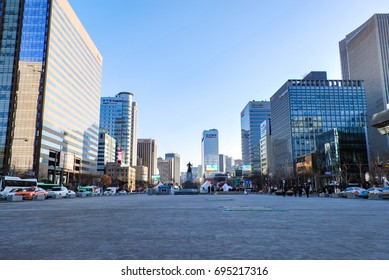 SEOUL, SOUTH KOREA - JANUARY 27th 2017: Urban park surrounding by skycrappers at public recreation walkway in Seoul, South Korea.