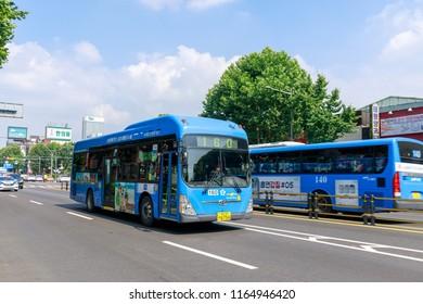 Seoul, South Korea - Jul 17, 2018 : Seoul blue bus on the road in Seoul city