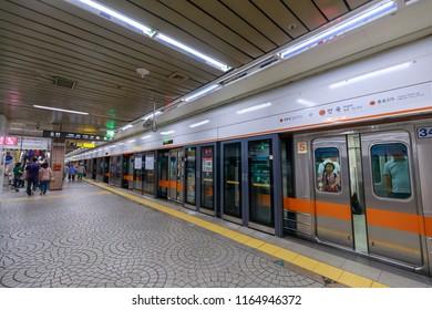 Seoul, South Korea - Jul 19, 2018 : Anguk station, Seoul Subway Line 3 in Jongno-gu, Seoul city