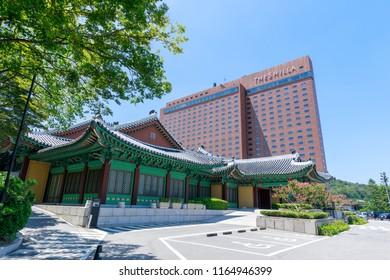 Seoul, South Korea - Jul 19, 2018 : The Shilla Hotel in Seoul city