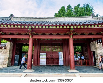SEOUL, SOUTH KOREA - JUL 28: Jongmyo Shrine in Seoul, South Korea on July 28, 2014. Seoul is the capital and largest metropolis of South Korea.