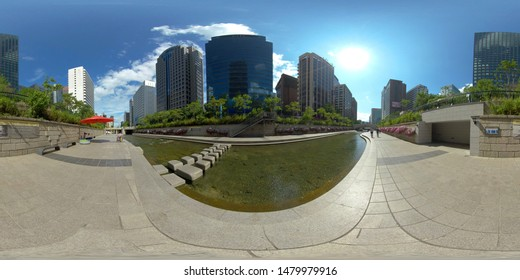 SEOUL, SOUTH KOREA – JULY 08 2019: full seamless panorama 360 degrees angle view of Seoul city center. skybox VR content. equirectangular spherical projection.
