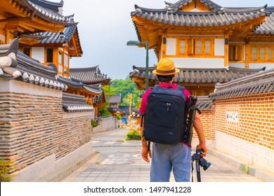 Seoul, South Korea - JULY 14, 2019: Eunpyeong Hanok Old village in Seoul,South Korea