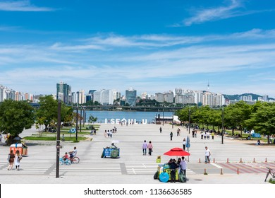 Seoul, South Korea - July, 2018:  Yeouido hangang park in summer, A famous park beside Han river.
