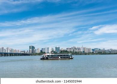 Seoul, South Korea - July, 2018: Hangang River Ferry Cruise in Seoul city.