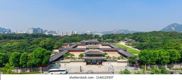 Seoul, South Korea - July 21, 2018 : Changgyeonggung palace scene in Seoul city, South Korea