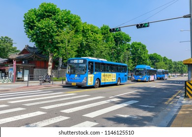 Seoul, South Korea - July 21, 2018 : Seoul city bus, is driving to stop in Seoul city