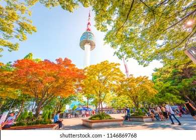 SEOUL, SOUTH KOREA - July 29, 2018: N Seoul Tower is located on Namsan Mountain in central Seoul.