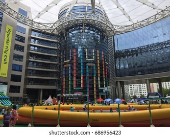 SEOUL, South Korea, July 29, 2017, Hundreds of children are are swimming in the outdoor pool in Garden Five Square, one of the largest shopping mall in Seoul.