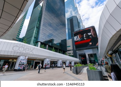 Seoul, South Korea - July 3, 2018 : Coex Convention & Exhibition Center scene in Gangnam district, Seoul city