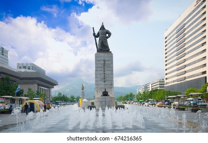 Seoul, South Korea - July 4, 2017:Statue of the Admiral Yi Sun-Sin in downtown Seoul, South Korea