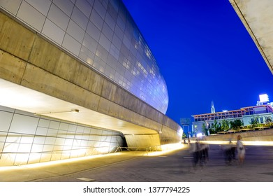 SEOUL, SOUTH KOREA - JUN 14, 2017 : Dongdaemun Design Plaza (DDP) area during twilight time in Seoul, South Korea.