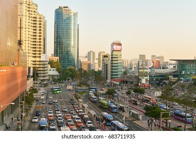 SEOUL, SOUTH KOREA - JUNE 01, 2017: view from Seoul 7017 Skypark. The Seoullo 7017 Skypark, is an elevated linear park in central Seoul  which opened on May 20, 2017.