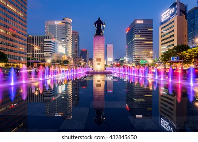 SEOUL, SOUTH KOREA - JUNE 04, 2016:colorful water fountain at Gwanghwamun Plaza with the statue of the Admiral Yi Sun-sin in Seoul City.Photo taken on June 04,2016 in seoul,South Korea.