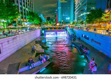 Seoul, South Korea - June 04, 2016: Cheonggyecheon at night in downtown Seoul, South Korea