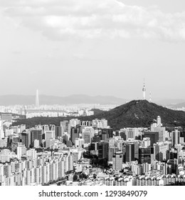 Seoul, South Korea - June 1, 2017: Black and white view of Namsan tower from the Asan Mountain.