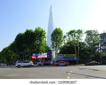 SEOUL, South Korea, June 2,2018, There are many banners of local election candidates for the Korean local election at Seokchon lake, near Lotte world tower, Seoul, Korea