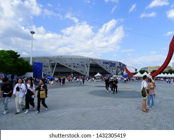"""Seoul, South Korea, June 23, 2019, Thousand of people are lining up to enter the BTS fan meeting at the Olympic Park Gymnastics Stadium, one of the famous concert hall in the Seoul, Korea """