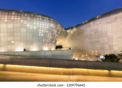 SEOUL / SOUTH KOREA - JUNE 24 2018: Dongdaemun Design Plaza (DDP) or Dongdaemun history & culture park at night,  Here are It holds various exhibitions, fashion shows, forums, conferences