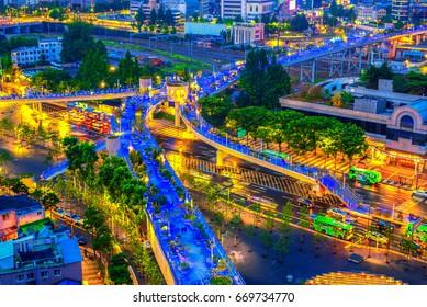 SEOUL, SOUTH KOREA - JUNE 25: Seoul Station Seoullo 7017 Project turn a highway into a pedestrian walkway Photo taken on June 25 2017 in Seoul South Korea.