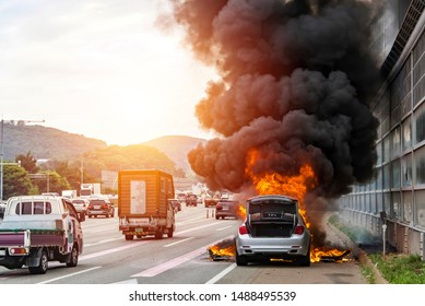 Seoul, South Korea ; June 26, 2019 A luxury car that was operating on a crowded Seoul suburb is being set on fire.