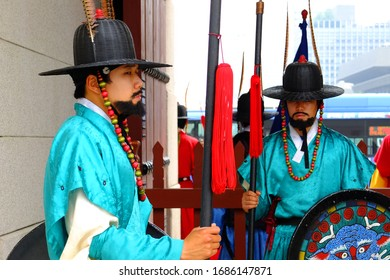 Seoul, South Korea- June 26th, 2012: Changing of the guard Ceremony at Gyeongbokgung palace in Seoul.