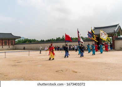 Seoul, South Korea - June 29, 2018: Royal Guard Changing Ceremony of the Joseon Dynasty is the most famous show at Gyeongbokgung Palace.
